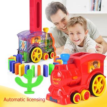 Automatic Laying Domino Train Sound Light Colorful Blocks Car Set Kids Toys Blocks Game Toys Set Gift for Girl boys image
