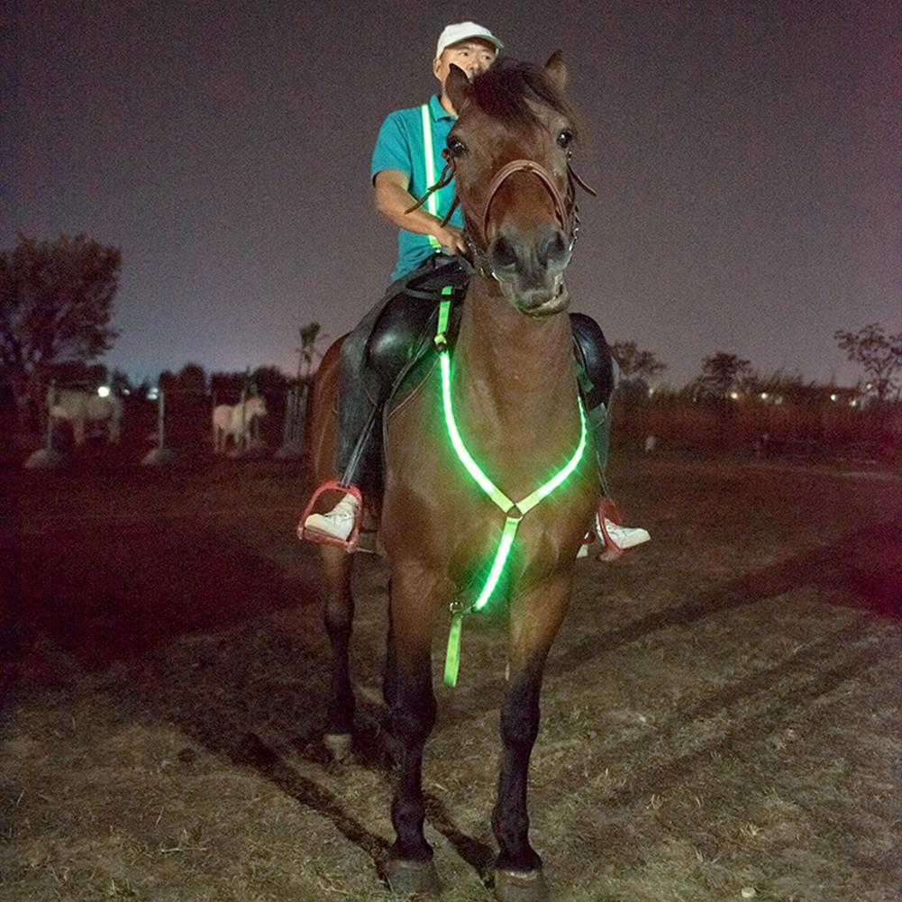 Luminous Horse Breastplate Collar LED Collar Adjustable Sturdy Comfortable Rechargeable Horse Tack Visibility Equestrian Safety