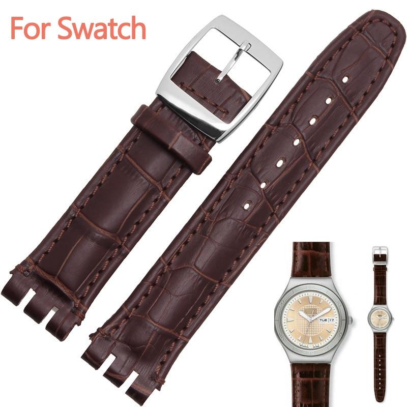 Bracelet de montre en cuir de veau véritable, 17mm, 19mm, noir, marron, blanc, étanche, haute qualité
