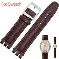 17mm 19mm strap für swatch band Genuine Kalb Leder Uhr Strap Band Schwarz Braun Weiß Wasserdichte Hohe Qualität
