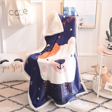 YIANSHU Cashmere Double-Layer Childrens Cartoon Blanket Winter Warm Flannel Baby 100x140cm