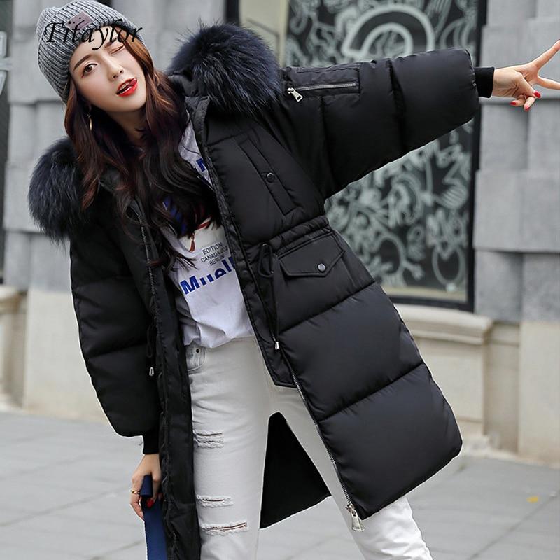 Fitaylor nowy zima kobiety bawełna kurtka płaszcz z kapturem ciepłe duże futro kołnierz długi śnieg parki kobiet grube armia zielony odzież wierzchnia w Parki od Odzież damska na AliExpress - 11.11_Double 11Singles' Day 1