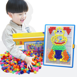 Image 1 - For Children 296pcs Mosaic Picture Puzzle Toy Children Composite Intellectual Educational Mushroom Nail Kit Toys with Box