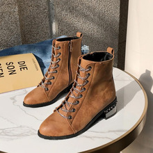New Fashion European Style Black Ankle Boots Flats Round Toe Zip PU Leather Woman Shoes With Warm Plush