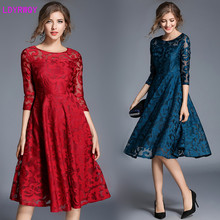 2019 autumn hot new slim slimming pure cute long paragraph seven-point sleeves lace embroidered dress