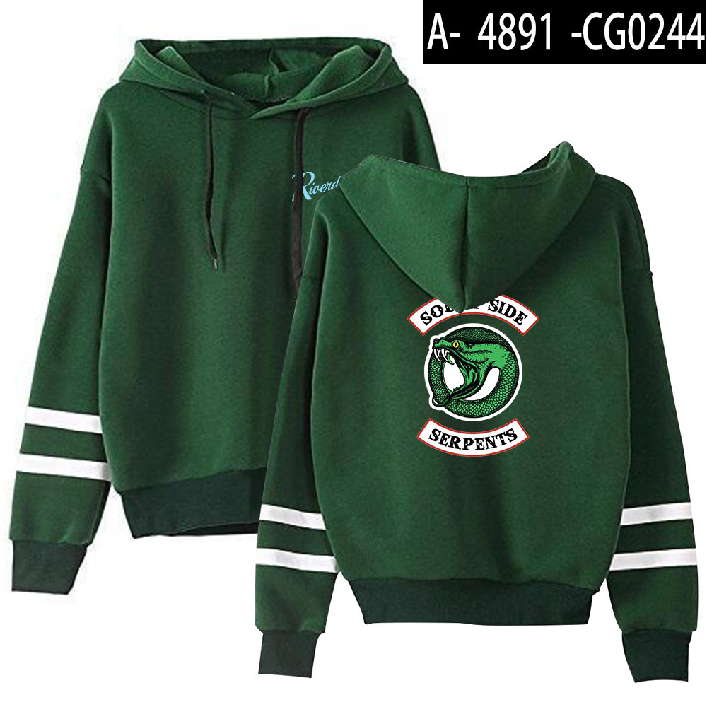 Riverdale Southside Serpents Hoodies Sweatshirts MenS Women South Side Serpents Hoodie Long Sleeve Striped Pullover Top Oversize 26