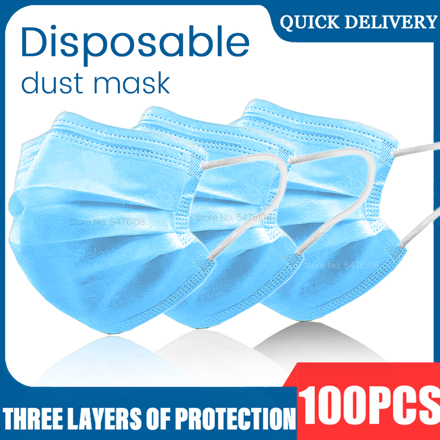 In Stock! Fast Delivery! High Quality 100PCS Non Woven Disposable Face Mask 3 Layers Anti-Dust Face Masks Earloop Mouth Mask