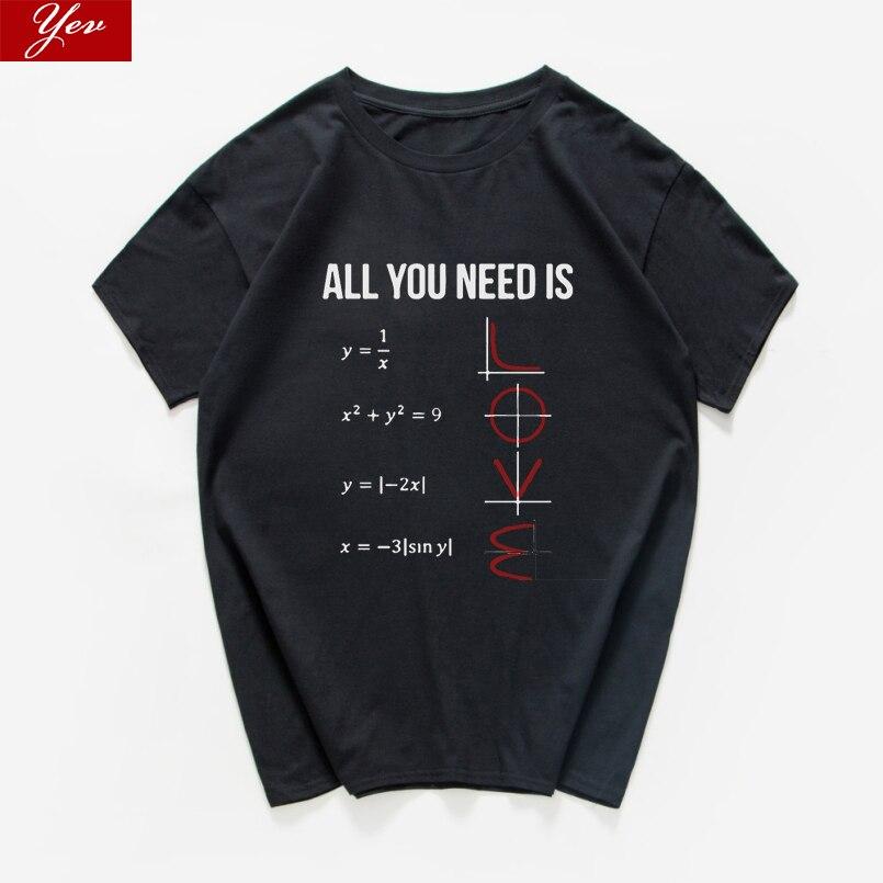 Tudo o que você precisa é amor engraçado casual tshirt feminino manga curta verão feminino camiseta matemática 100% algodão roupas femininas topos t harajuku