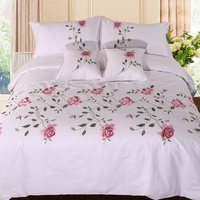 Premium Cotton Soft Bedding set Chic Flowers Leaves Embroidery White Pink Grey Duvet Cover Bed sheet Twin Full Queen King size
