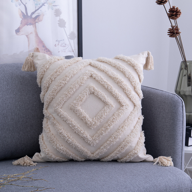 Tassels Cushion Cover 45x 45cm/30x50cm Beige Pillow Cover  Handmade Square Home Decoration for living Room Bed Room Zip Open 4