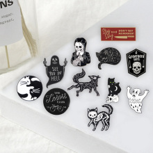 Панк темные булавки Скелет черные красивые броши значки сумки аксессуары для одежды эмалированные булавки подарки для друзей ювелирные изделия оптом