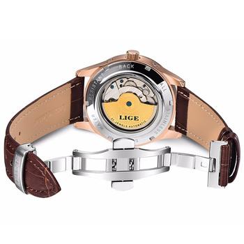 Relogio Masculin LIGE nowe męskie zegarki Top marka luksusowy automatyczny zegarek mechaniczny mężczyźni skórzany wodoodporny zegarek tydzień zegar + Boxo tanie i dobre opinie 3Bar Składane zapięcie z bezpieczeństwem SPORT Jazda na rowerze Automatyczne self-wiatr 22cm STAINLESS STEEL Odporny na wstrząsy