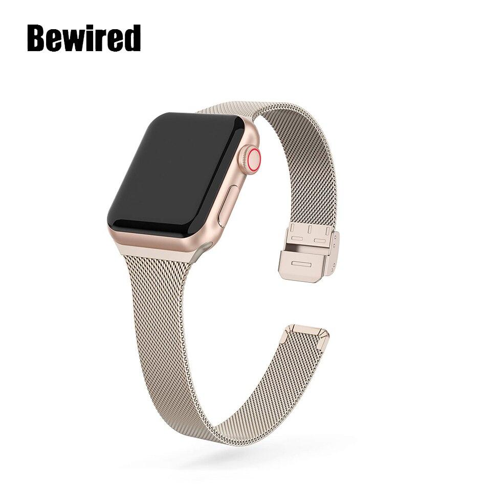 Cinturino sottile per Apple Watch SE 6/5/4 40MM 44MM cinturino in metallo cinturino ad anello per iWatch Series 3/2/1 38MM 40MM cinturino da polso 2