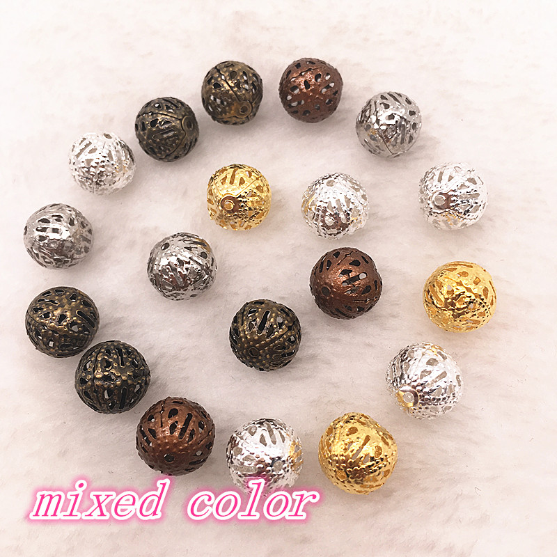 150-30pcs 4/6/8/10mm Hollow Ball Flower Beads Metal Charms Bronze /Gold /Silver Plated Filigree Spacer Beads For Jewelry Making