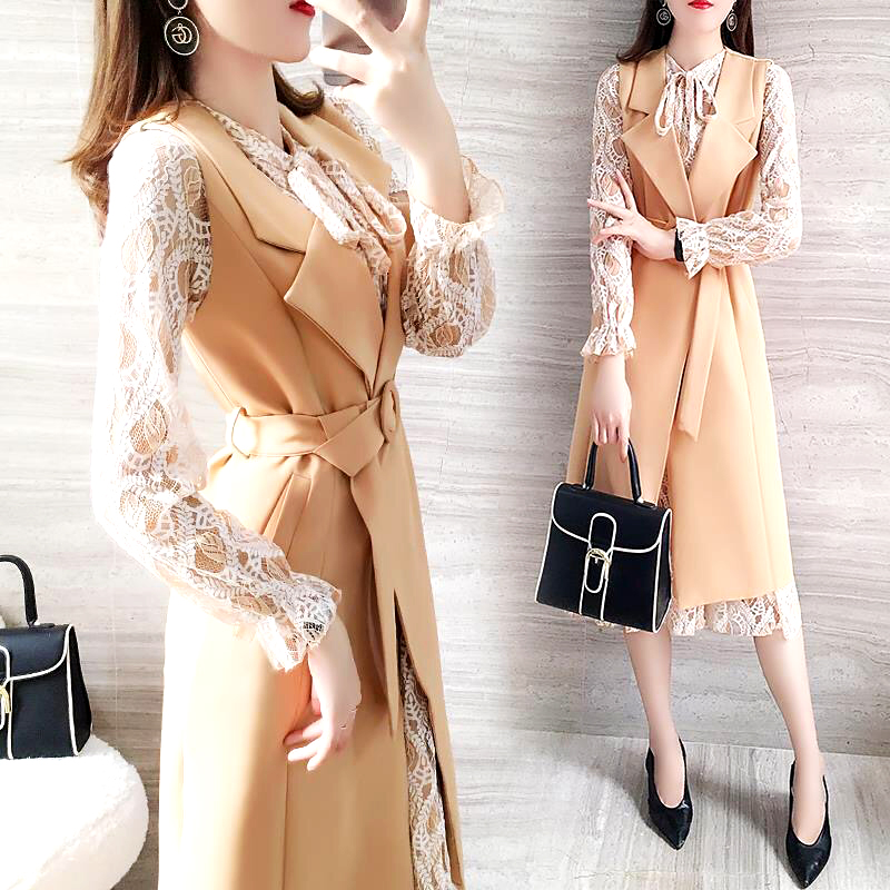New Spring Two Piece Set Women Clothes Full Sleeve Slim Lace Dress And Sleeveless Long Coat With Belt Vogue OL Style Suit SL389