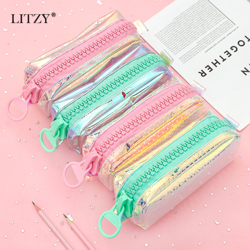 Big Zipper Transparent Laser Pencil Case Large Capacity Pencil Box For Girls Cosmetic Bag Stationery Gift School Supplies Zakka