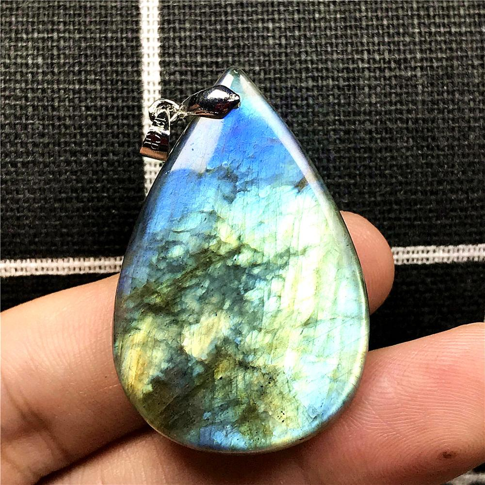 Top Natural Yellow Blue Labradorite Pendant For Woman Man Crystal 40x26x8mm Water Drop Beads Silver Stone Fashion Jewelry AAAAA