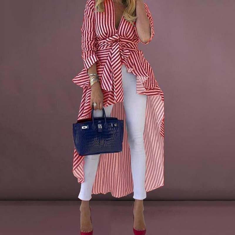Stripe V-Neck Tunic High Waist Long Women Asymmetrical Long Blouse Shirt Fashion Office Ladies OL Work Blouses Female Party Top