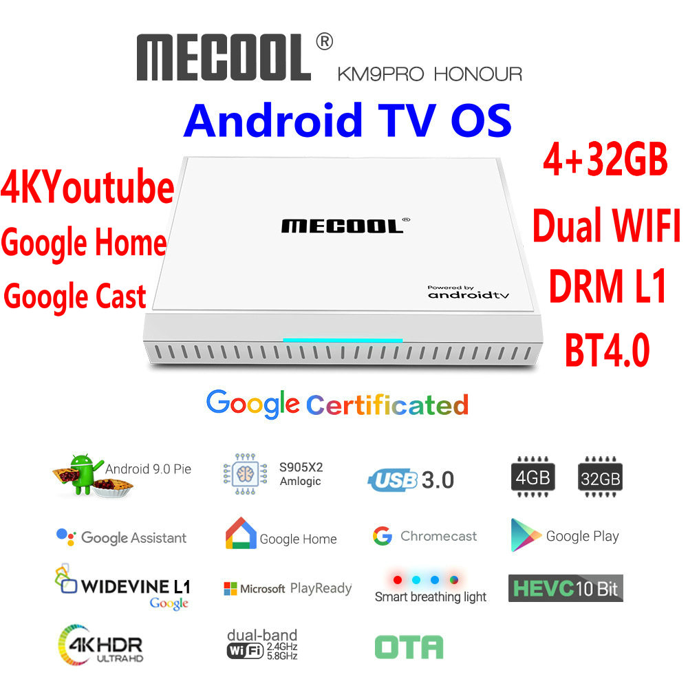 Google Certified <font><b>MECOOL</b></font> <font><b>KM9</b></font>-PRO Honour <font><b>Android</b></font> <font><b>TV</b></font> OS White <font><b>TV</b></font> <font><b>Box</b></font> Amlogic <font><b>S905X2</b></font> 4G 32G 4K Smart DRM L1 Voice Bluetooth Remote image