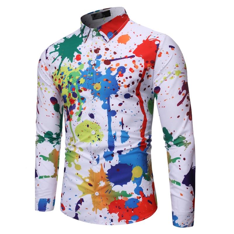 Men Hawaiian Shirt Long Sleeve Floral Print Mens Dress Formal Shirts Camisa Social Masculina Men Casual Slim Fit Tops Shirt
