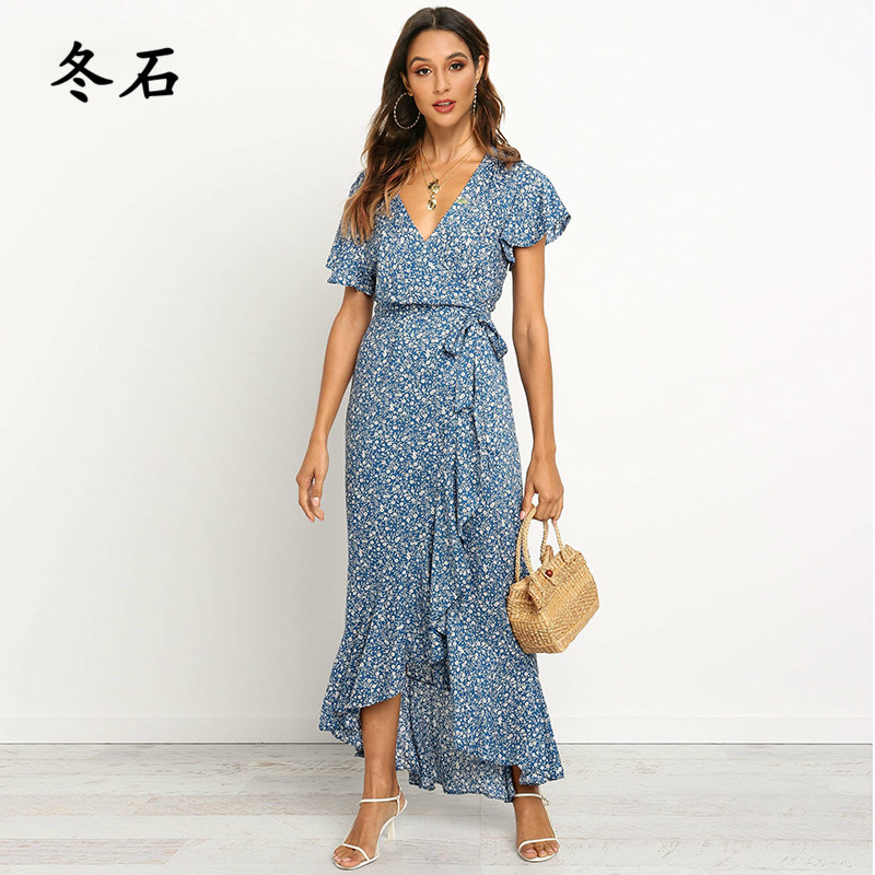 Summer Long <font><b>Maxi</b></font> <font><b>Dress</b></font> Women Casual Boho Floral Print Chiffon Beach <font><b>Dress</b></font> <font><b>Sexy</b></font> V-Neck Ruffles Bodycon Wrap <font><b>High</b></font> <font><b>Slit</b></font> Party <font><b>Dress</b></font> image