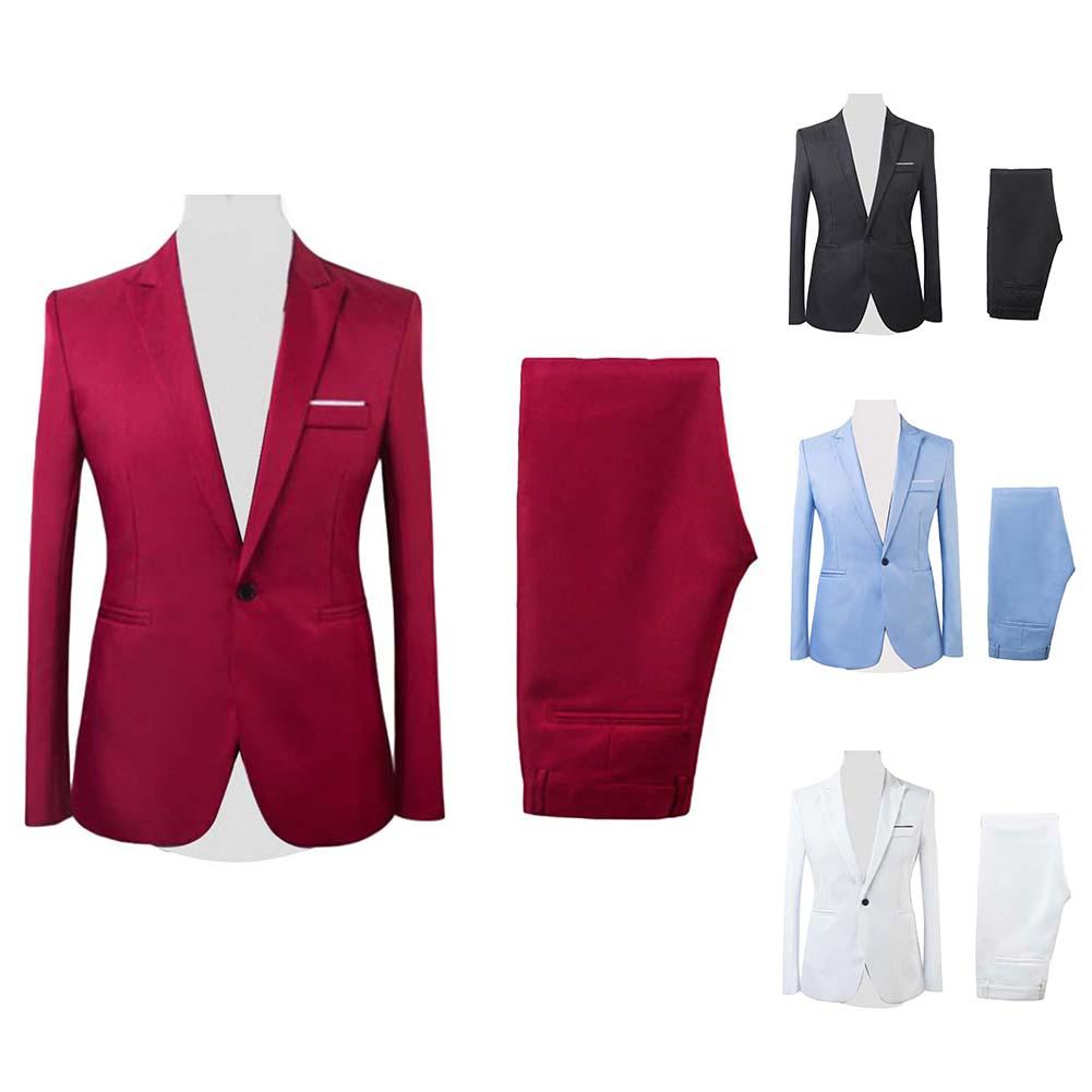 High Quality 2019 Men's Fashion Slim Suits Men's Business Casual Groomsman 2pcs/set Wedding Suit Jacket Pants Trousers Sets