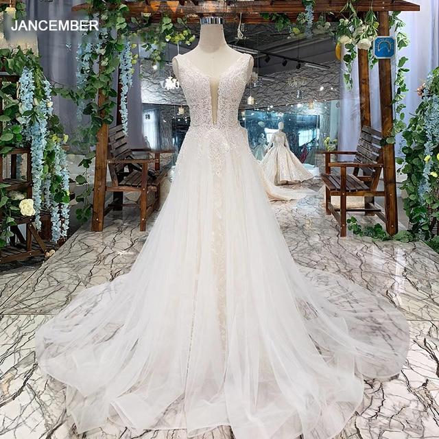 LSS508 ボヘミアンウェディングドレス v ネックノースリーブ a ライン格安ウェディングドレスシンプルなビーチブライダルドレス vestidos デ noiva 2020