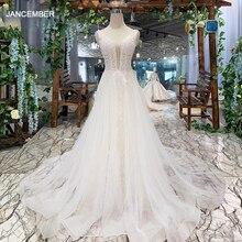 Robe de mariée bohème, robe de mariée simple, col en v, sans manches, ligne a, bon marché, robe de mariée de plage, LSS508, 2020