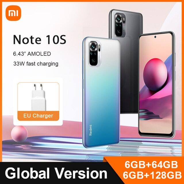 Global Version Xiaomi Redmi Note 10S 64GB/128GB 10S Mobile Phone  64MP Quad Camera Helio G95 AMOLED DotDisplay 33W Fast Charge 1