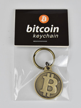 Hot Bitcoin Keychain Gold Plated Coin BTC antique brass plated keychain Pendant Art Collection