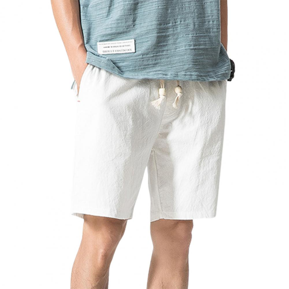 Men Beach Shorts Plus Size Casual Solid Color Drawstring Summer Loose Mid Rise Pockets Sweatpants Fitness Board Shorts 5
