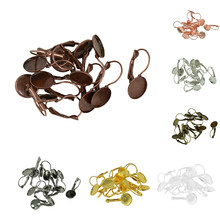12 Pieces Ear Wire Ear Hook Earring Findings Blanks 12mm Cabochon Bezel Settings Base Accessories for Jewelry Making(China)