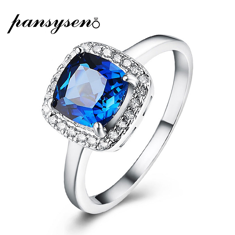 PANSYSEN Charms 8*8MM Square Sapphire Jewelry Rings For Woman Wedding Party 925 Sterling Silver Ring Wholesale Big Promotion