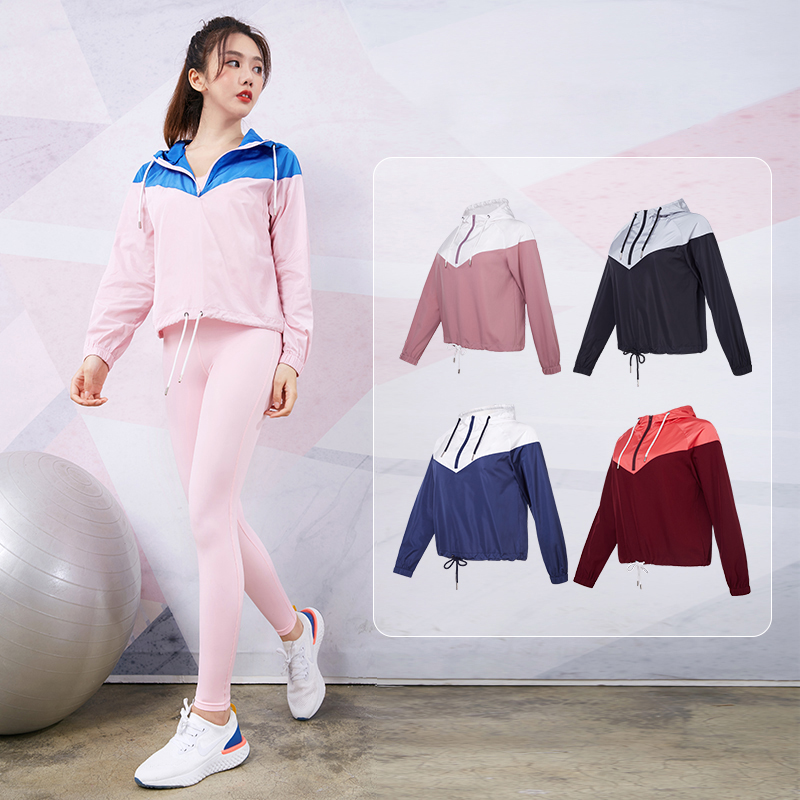 Vansydical Der Frauen Hoodies Windbreaker Winddicht Lauf Mit Kapuze Jacke Sportswear Sport Top Training Fitness Yoga Tops image