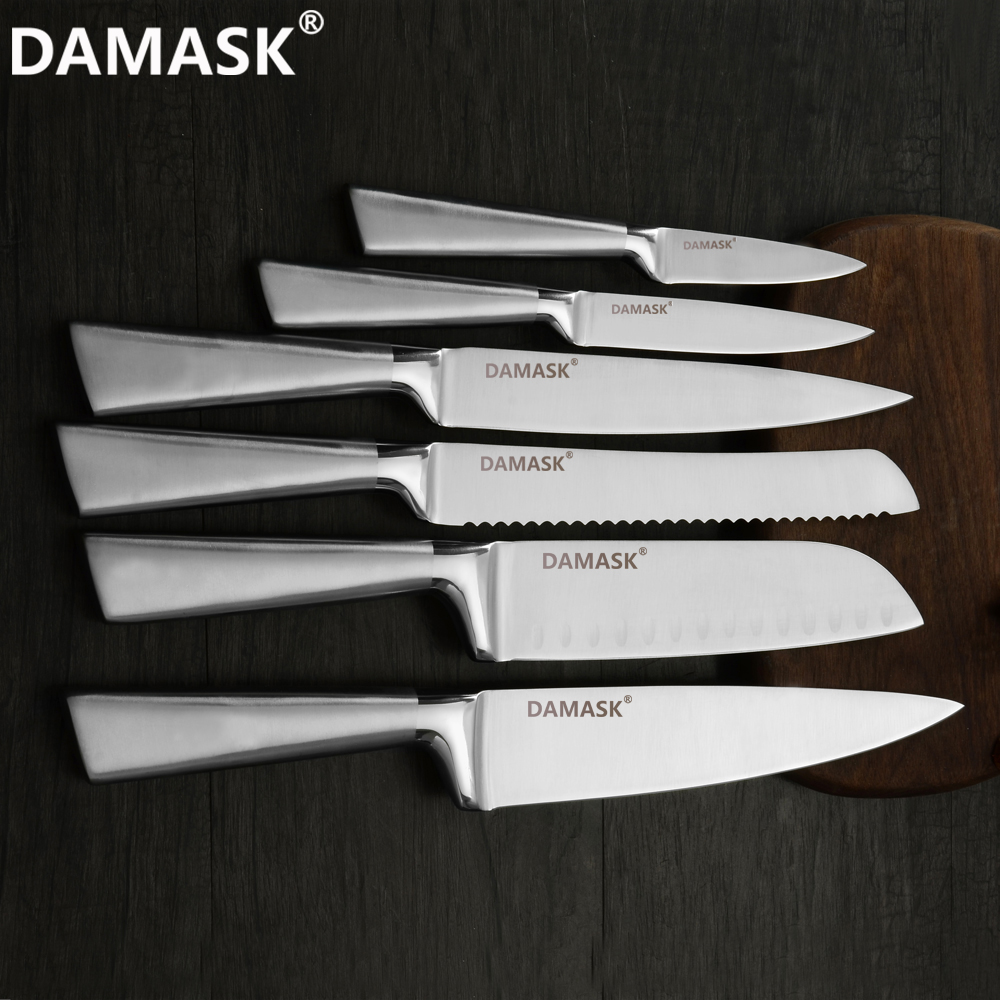 DAMASK Kitchen Knives Set Stainless Steel Santoku Knife Meat Vegetable Very Sharp Blade Japanese Style Cooking
