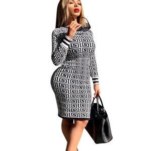 Vintage print o-neck full sleeve sheath dress office lady slim fit knee--length dress office sexy bodycon mini dress SW8144