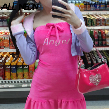 ALLNeon E-girl Off Shoulder Bandage Angel Rhinestones Ruffles Pink Mini Dresses Y2K Sweet Strapeless Backless Velet Party Dress pink off the shoulder bat sleeves mini dress