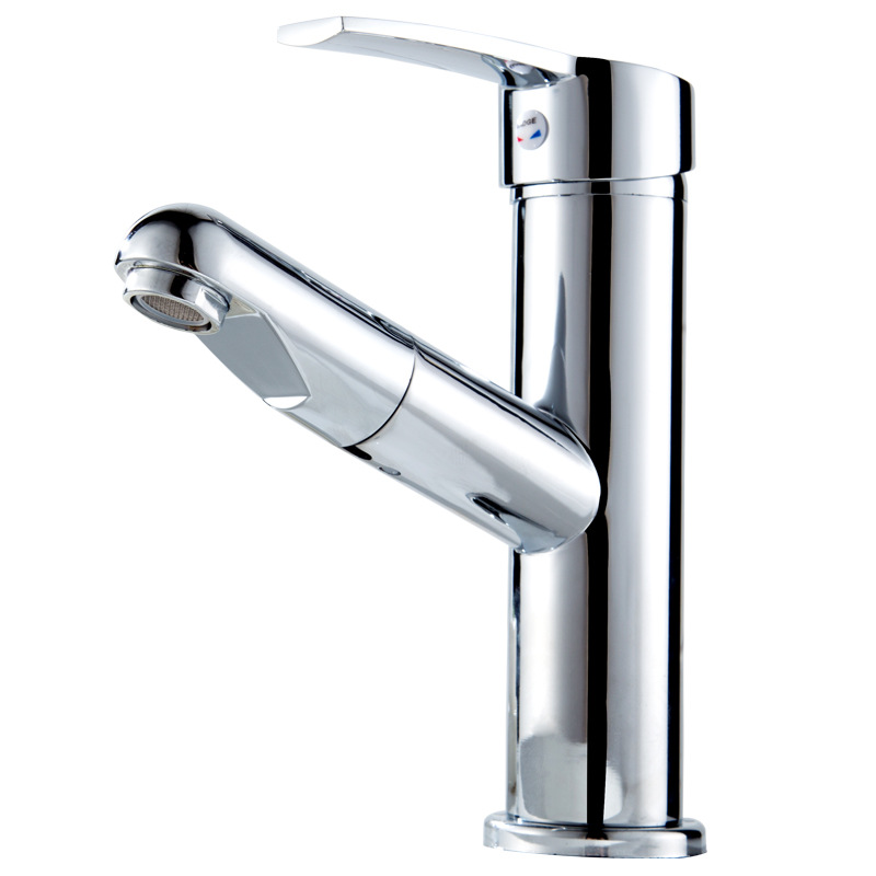 All Copper Faucet Toilet Wash Basin Drop-in Sink Hot And Cold Water Bathroom Cabinet Telescopic Rotating Tap