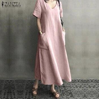 ZANZEA 2021 Women Long Maxi Summer Dress Casual Cotton Linen  Ladies Big Pockets Beach Party Robe Femme Vestidos 2