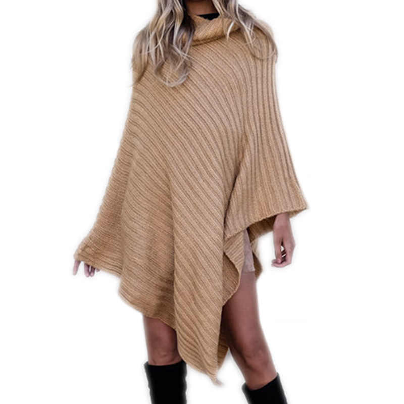 Casual Autumn Winter Knitted Poncho Sweaters Women Turtleneck Pullover Bat Shirt Irregular Hem Cloak Solid Shawl Capes Plus Size