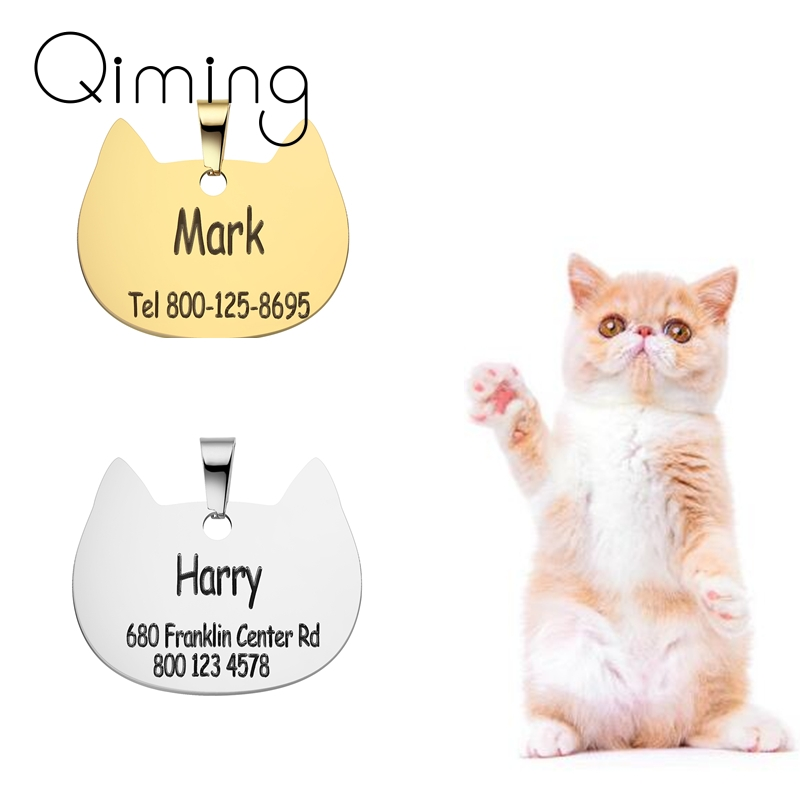Engraved Pet ID Name For Cat Puppy Dog tag Anti-lost Stainless Steel Collar Dog Cats Bone Tags Pet Supplies