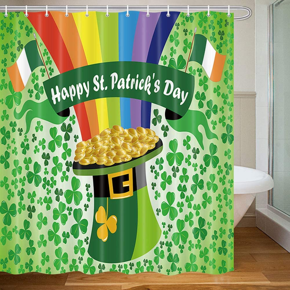 Happy St Patrick's Day Shower Curtain Shamrock Clover Leaf and Gold Coin Decor Polyester Fabric Bathroom Curtains Set with Hooks