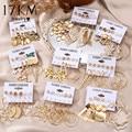 17KM модные золотые металлические серьги для женщин Набор геометрических кисточек модные висячие серьги подарок 2021 женские ювелирные издели...