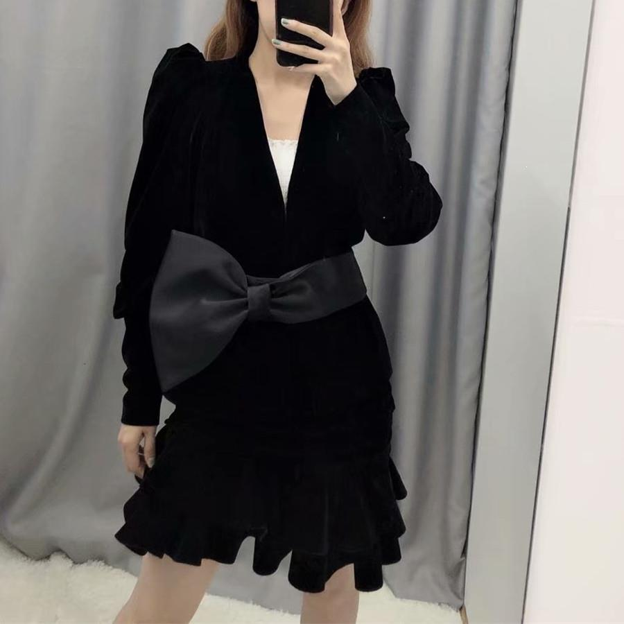 Vintage Puff Sleeve Velvet Bow Blazer Suit Women Blazer And Mini Skirt Two Piece Set V-Neck Blazers And Jackets Set