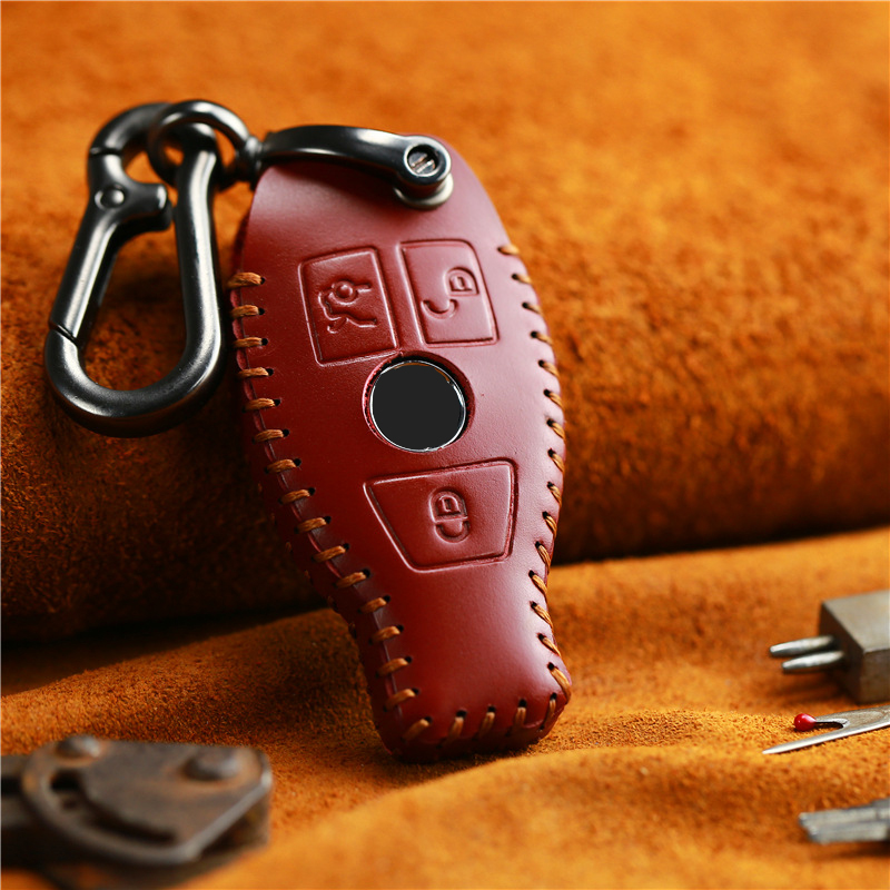 Handmade Leather Car Key Case Cover Fob Bag Suitable For Mercedes Benz A B GLC CLA GLA CLS S E C Class W204 W205 W212 W176 W222 image