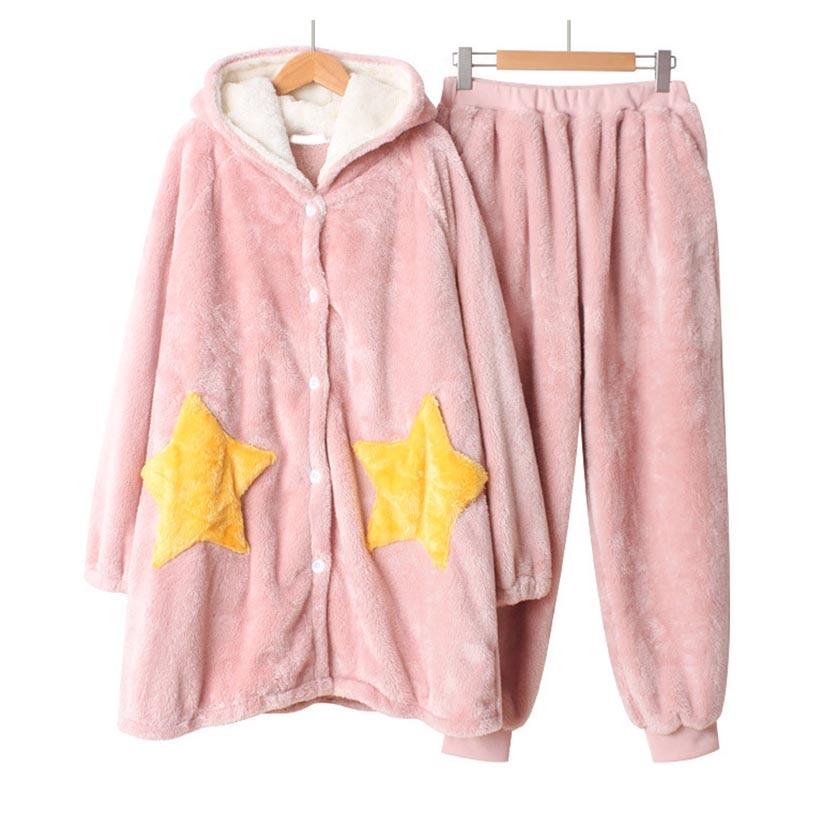 Flanelle pyjamas ensembles Homewear femme chemise de nuit hiver chaud corail vêtements de nuit à manches longues étoile vêtements de nuit