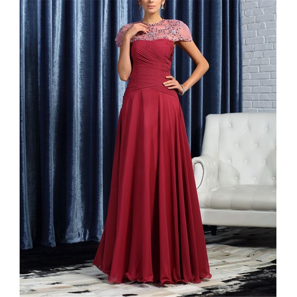 A-line Crystals Women's Dresses Cap Sleeves Chiffon Ruffles Beading Full-length Custom-Made Mother Of The Bride Dress