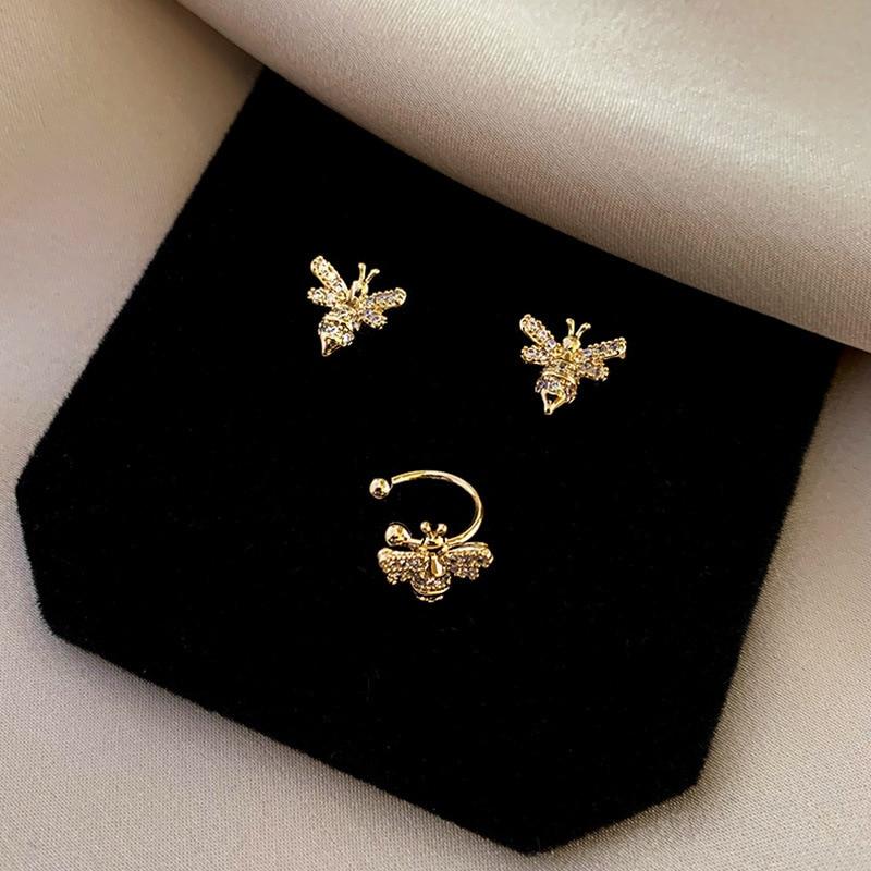 2020 South Korea's New Fashion Little Bee Earpin Earclip Three Piece Set Female Temperament Versatile Earrings Without Earholes