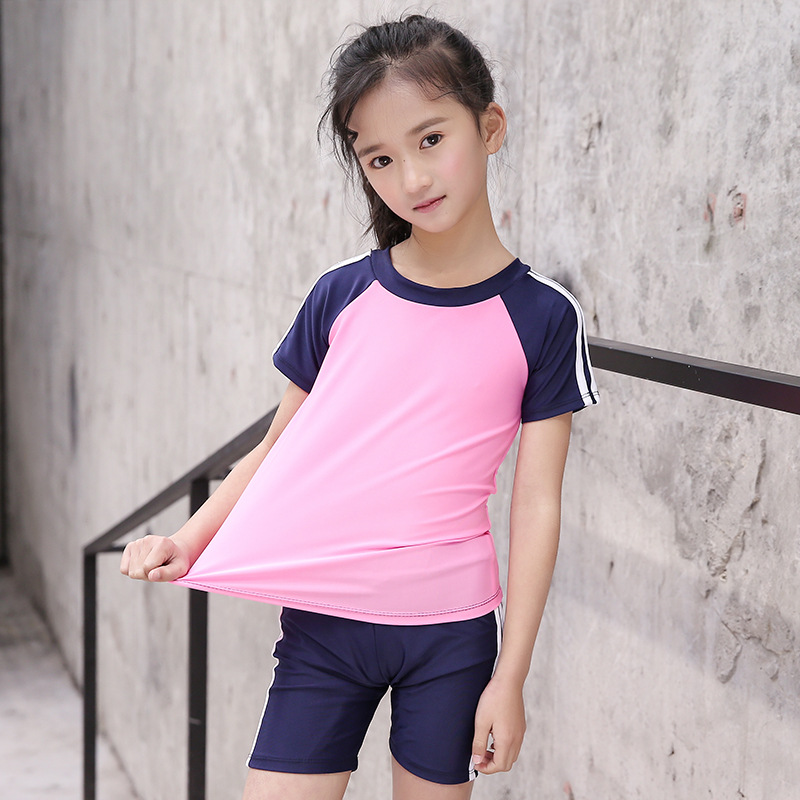 2019 New Style KID'S Swimwear Girls Sun-resistant Sports Bathing Suit Swimming Trunks Solid Color Joint Swimwear Split Type Spor