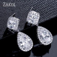 ZAKOL New Design Fashion Square Teardrop Clear Drop Earrings Copper Cubic Zirconia For Women Girl Party Work Tourism FSEP2162